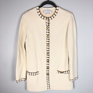 St. John Collection Cream Long Cardigan Size 6